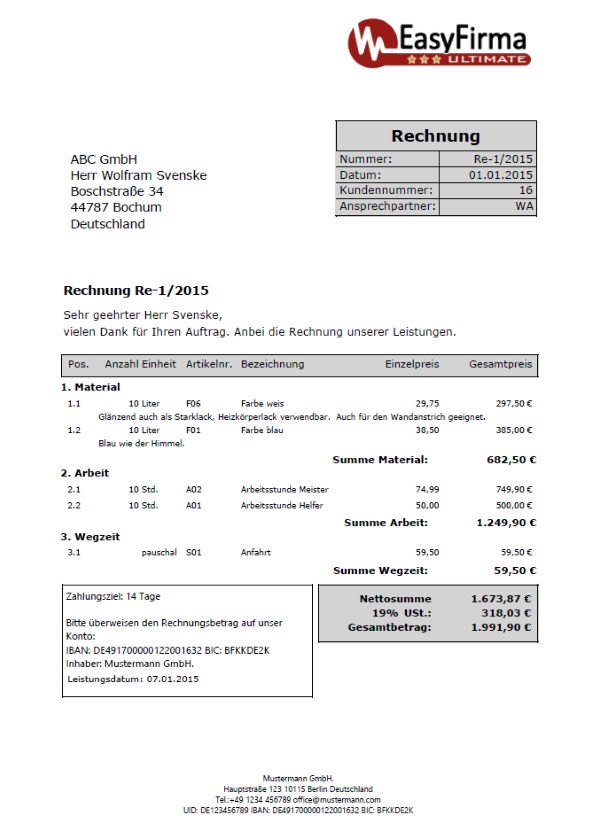 Rechnungsvorlagen Muster Beispiele Information